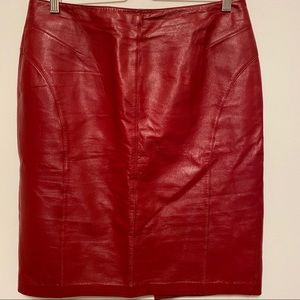 Danier Leather Dark Red slit back Skirt Size 10